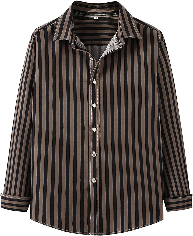 Huangse Mens Casual Button Down Shirts Long Sleeve Striped Lapel Shirt Summer Vintage Beach Vacation Shirt