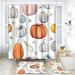 ArtSocket 4 Pcs Shower Curtain Set Watercolor Pumpkins Thanksgiving Halloween Recipe Fall Orange and Blue with Non-Slip Rugs Toilet Lid Cover and Bath Mat Bathroom Decor Set 72