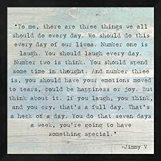 Three Things, Jimmy V Quote Framed Art Print Wall Picture, Deep Black Frame, 17 x 17 inches
