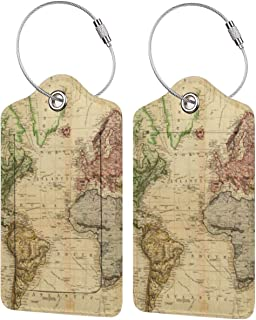 Map Of The WorldLuggage Tags Suitcase Labels Bag Travel Accessories Set of 2