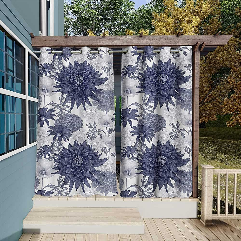 Dahlia Flower Outdoor Blackout Curtains Albuquerque Mall Max 81% OFF Digital Paint Dotted o