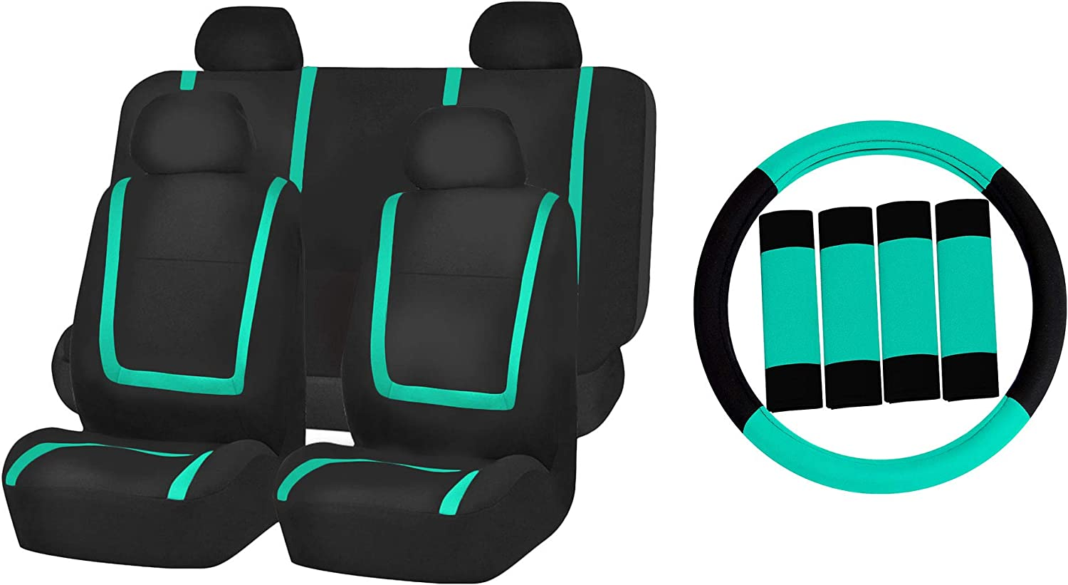 TLH Unique Flat Cloth Seat Covers Soldering Mint NEW before selling Set Color Full Universal