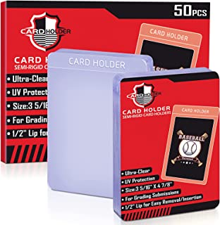 50 Count Card Saver Semi Rigid Card Sleeves Card Holder for Trading Cards, Baseball Cards Sleeves Toploader Protector Comp...