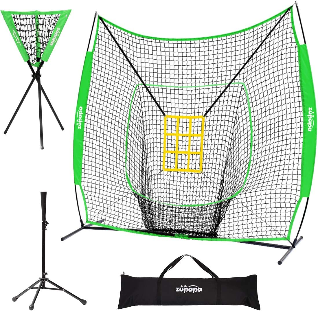 Zupapa 7x7 Feet Baseball Softball Hitting Pitching Net Tee Caddy Set with Strike Zone, Baseball Backstop Practice Net for Pitching Batting Catching for All Skill Levels (Green) : Sports & Outdoors