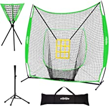 Zupapa 7x7 Feet Baseball Softball Hitting Pitching Net Tee Caddy Set with Strike Zone, Baseball Backstop Practice Net for ...