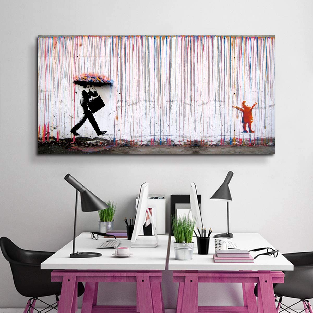 Banksy Canvas Challenge the lowest price of Japan ☆ Print Colorful Rain Art Galler Wall Rapid rise Graffiti