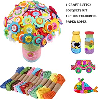 DIY Craft Iron Wire Button Felt Bouquets Kit, Make 40 Flowers-DIY Craft Kit for Kids Teacher Gift Bouquet Crafts Kits on Mother's Day or Teachers' Day(A)