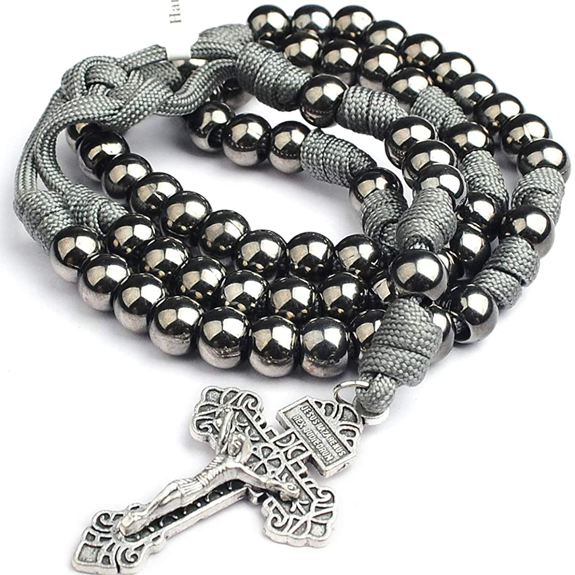HanlinCC 10mm Gun Black Metal Beads 19.7 Inch Rosary with Strong Cord with Anti-Silver Army Cross with Metal Gift Box