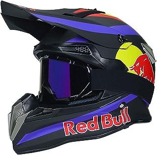 NNYY Helm Motocross, Cross Helm Integrierter Helm Moto Schutz Head Helme, ECE Genehmigte Off-Road Enduro Downhill Racing Casco ATV MTB BMX Motorrad Helme Red Bull A,Schwarz,L