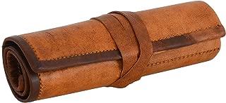 Vintage Stuff Genuine Leather Stationery Handmade Pencil Case Art Uni College Supplies Roll Wrap Holder Vintage Unisex Brown
