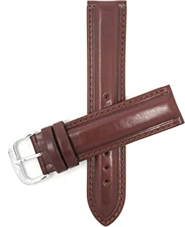 Bandini Leather Watch Band Strap, Center Padded, Pointed Tip, 3 Colors (18mm, 20mm)