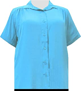 Women's Plus Size Short Sleeve Button-Up Solid Blouse