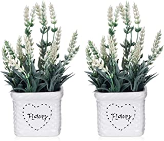 Lavender Flowers Artificial Plants with White Vase - Potted White Fake Flower for Farmhose Table Decor (Set of 2)
