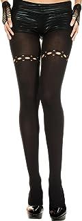 Music Legs Damen Spandex-Strumpfhose mit Netzlöchern