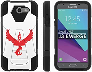 Samsung Galaxy J3 Emerge [2017] Mil-Spec [Mobiflare] [Black/Black] Dual Layer Armor Case [Kickstand] [Screen Protector] - [Red Bird] for Galaxy [2017] [J3 Emerge] [5