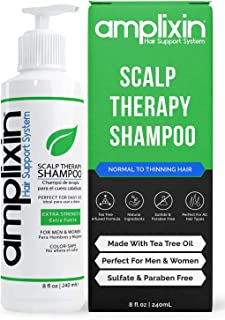 Amplixin Scalp Therapy Shampoo - Dry, Itchy Scalp Treatment With Tea Tree Oil For Men and Women - Anti Dandruff, Psoriasis and Seborrheic Dermatitis Prevention Formula - No Sulfates or Parabens, 8oz