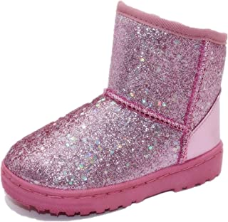 Girls Boots Warm Sequin Comfy Cute Waterpoof Outdoor Glitter Snow Boots Bootie Slippers(Toddler/Little Kid)