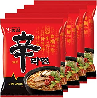 [Korean Noodle] Nongshim Spicy Shin Ramen (Pack of 5) + 1 Random Ramen Gift