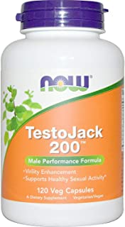 Now Foods Testo Jack 200 Extra Strength Veg Capsules, 120 Count, Pack of 3