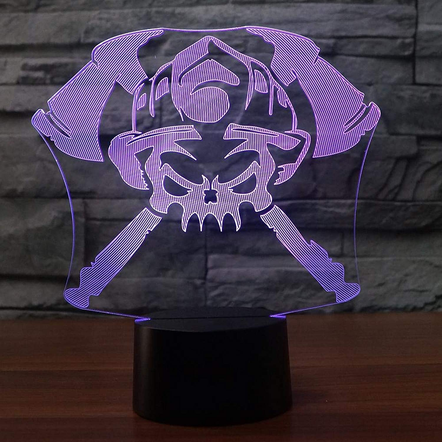 Fsewfs 3D Night Light 7 color Changing 3D Skull Firefighters Led Nightlight Kids Touch USB Gradients Table Lamp Baby Bedroom Fire Tools Lighting Decor