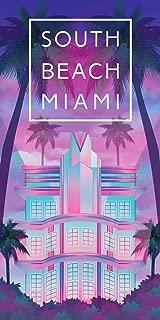 Miami South Beach Neon Lights Towel