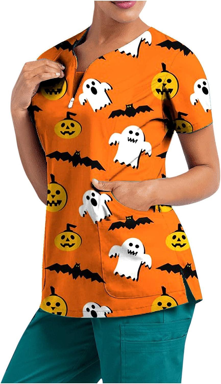 Women Nursing Tank Tops Short Halloween Print Philadelphia Mall Gifts Sleeve Summer Shir