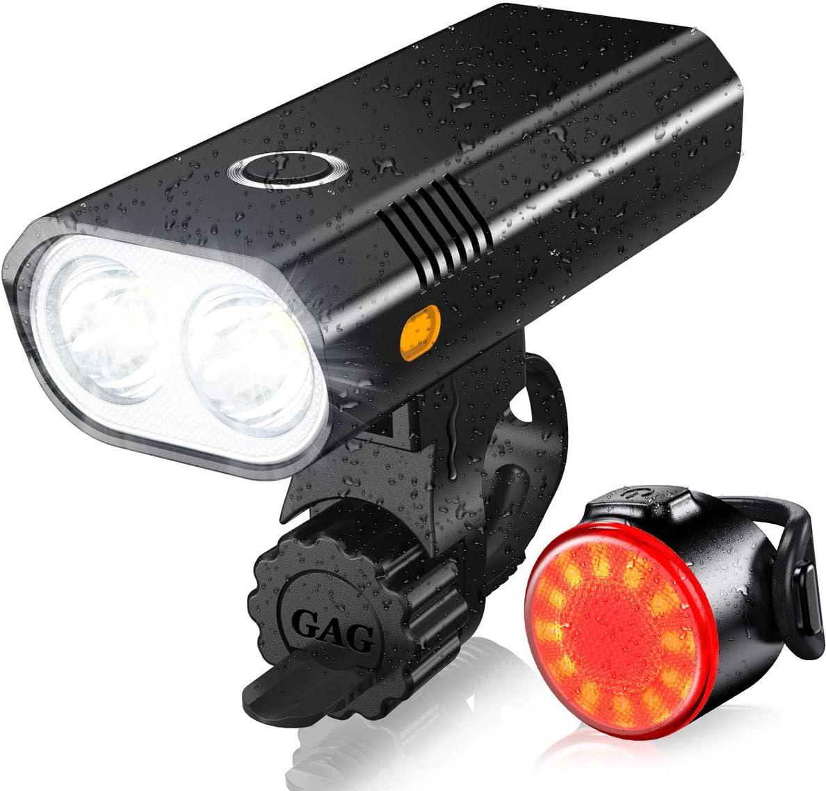 ASUNND Luces Bicicleta, Luz Bicicleta LED Impermeable, Luz de Bicicleta Recargable por USB,Iluminación de 5 Modos, Lámpara Súper Potente 800 Lúmenes, Luz Bicicleta Delanteras Luz Trasera