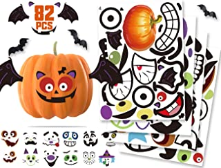 KIDPAR 82Pcs Halloween Pumpkin Stickers, 33 Funny and Classic Pumpkin Expressions Stickers for Pumpkins and Squashes, Make...