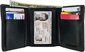 Hanks Tri-Fold Leather Wallet - Holds 8-13 Cards - USA Made, 100-Year Warranty
