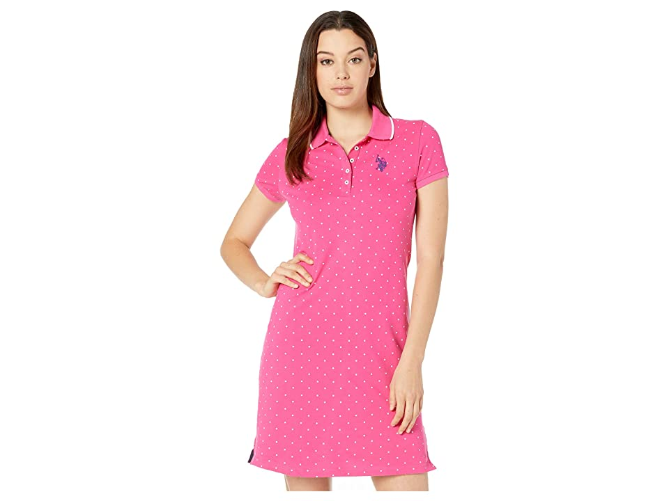 U.S. POLO ASSN. Dot Polo Dress (Pink Carmine) Women