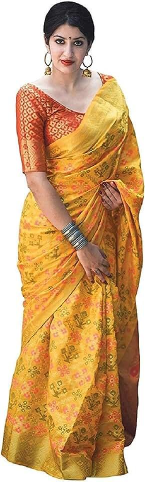 Indian Pandadi Saree Women's Kanchipuram Silk Saree With Un-stitched Blouse Saree