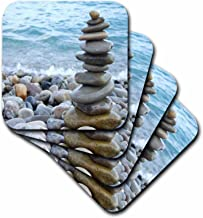 3dRose CST_157790_2 Zen Stone Tower on Pebble Beach Peaceful Harmony Stacked Shiny Round Ocean Sea Rocks Balance Soft Coasters (Set of 8)