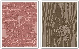 Sizzix 656644 Texture Fades Embossing Folders Tim Holtz 2PK - Bricked & Woodgrain Set