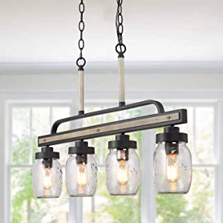 LOG BARN Rustic Mason Jar Pendant Lighting for Kitchen, 4 Lights Farmhouse Chandelier in Distressed Faux Wood and Dark Grey Metal Finish, 30
