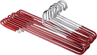 ROLLYWARE Stainless Steel Saree Hanger with Lower Band Lock (Red and Silver) - 10 Pieces