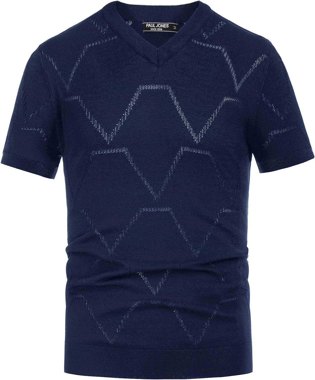 PJ PAUL JONES Special sale item Financial sales sale Mens Short Sleeve V Tee Fit Slim Shirt Breath Neck
