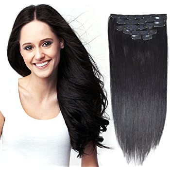 """18""""Clip in Remy Human Hair Extensions Double Weft Thick to Ends Jet Black(#1) 6pieces 70Grams/2.45oz"""