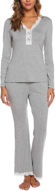 Maysoar Women Pajamas Set Lace Short Sleeve Soft Sleepwear Pj Sets V-Neck Button Down Nightwear with Long Pants…