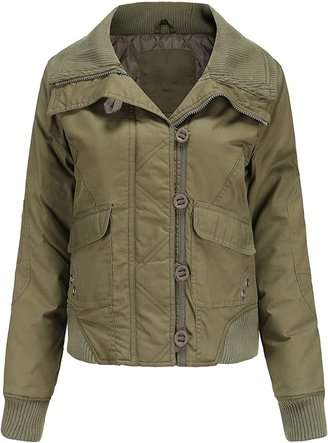 MEWOW Women's Fall Winter Warm Casual Quilted Coat Rib-Knit Lapel Bomber Jacket