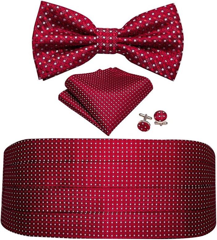 JJZXC Men Silk Floral Bow Tie Set Pocket Square Cufflink Formal Tuxedo Suit Accessories (Color : C)