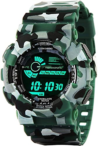 Digital Men s Boys Watch Black Dial Green Colored Strap