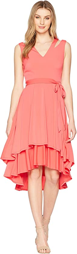 Ity Split Shoulder High-Low Dress with Double Tier