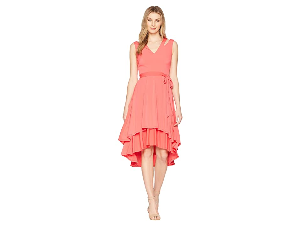 Vince Camuto Ity Split Shoulder High-Low Dress with Double Tier (Pink) Women
