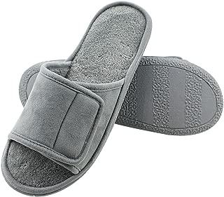 Magtoe Men Washable Microfiber Suede Adjustable Memory Foam Home Open Toe Indoor Slippers