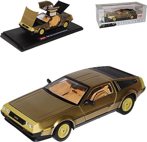 Sun Star Delorean DMC Coupe Gold aus Zurück in die Zukunft Back to The Future 1 18 Modell Auto mit individiuellem Wunschkennzeichen