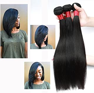 NICE QUEEN Brazilian Straight Human Hair 3 Bundles 8A Virgin Remy Human Hair Extensions Hair Human Bundles Weave Products(Straight,14 16 18 Inch)