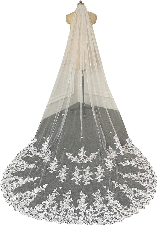 Yeoyaw Women Long Lace Applique Edge Wedding Veils Bridal Veil with Comb