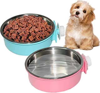 PINVNBY 2 Pcs Large Crate Dog Bowl Removable Stainless Steel Water Food Bowl Cage Hanging Pet Dish Bowls for Dog,Cat,Puppy...