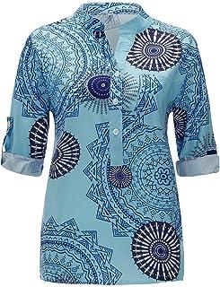 OULSEN Fashion Retro Women Long Sleeve Blouse V Neck Button Summer Loose Casual Shirt Blouse Tops Women Plus Size