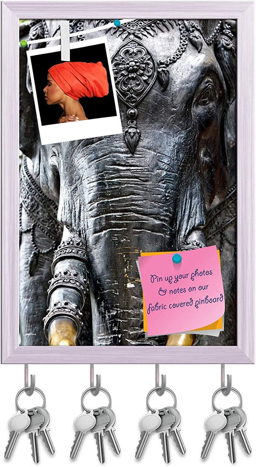 Artzfolio Elephant Near A Temple in Thailand Key Holder Hooks   Notice Pin Board   White Frame 6 X 8.5Inch